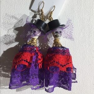 Jewelry - Día de los muertos skull earrings handmade new